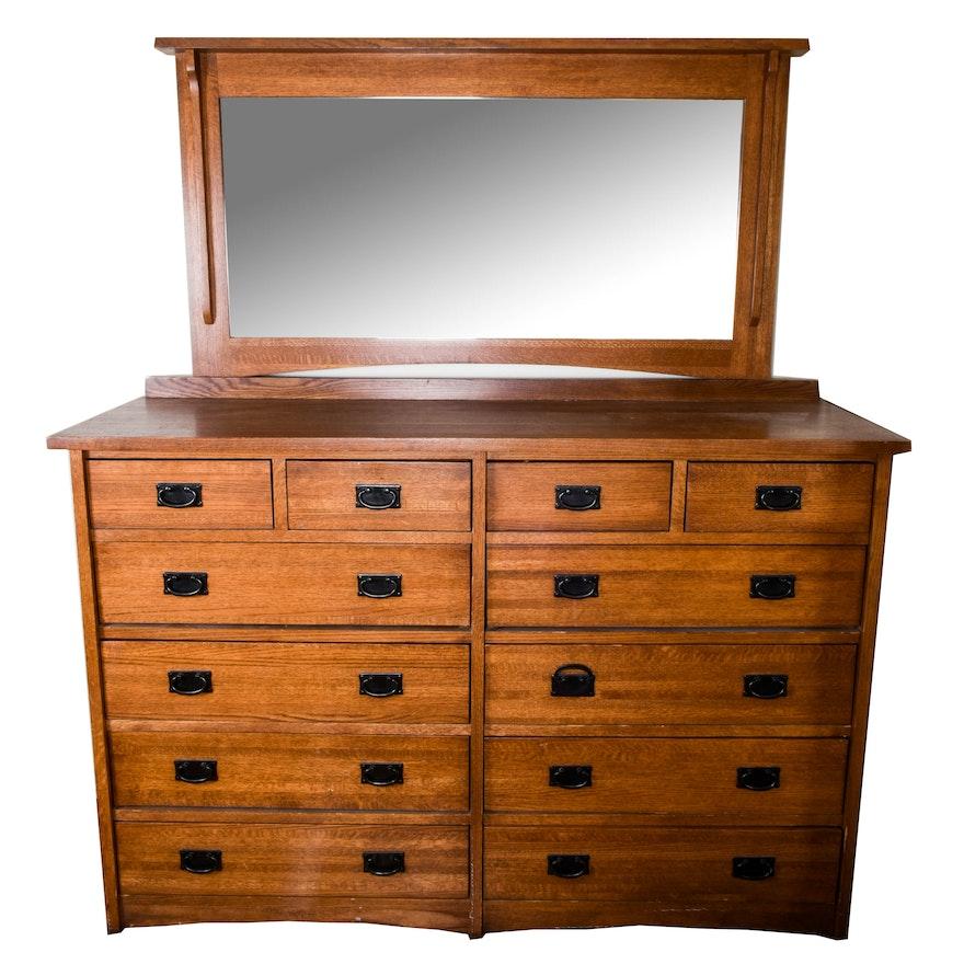 Mission Style Dresser With Mirror Ebth