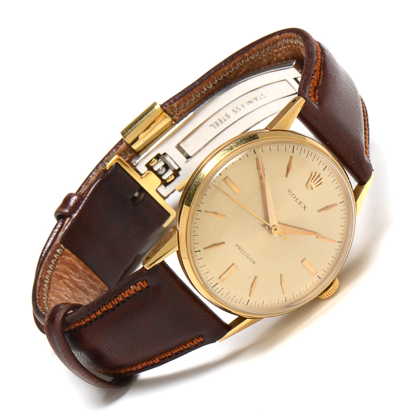 s vintage rolex 18k gold with non rolex leather