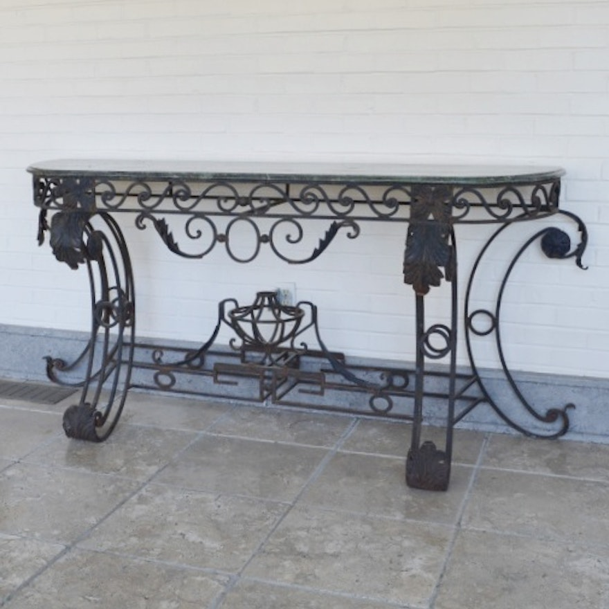 Marble Top And Wrought Iron Console Table