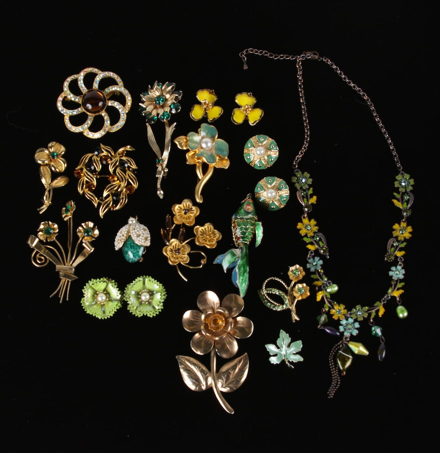 green and gold toned costume jewelry ebth