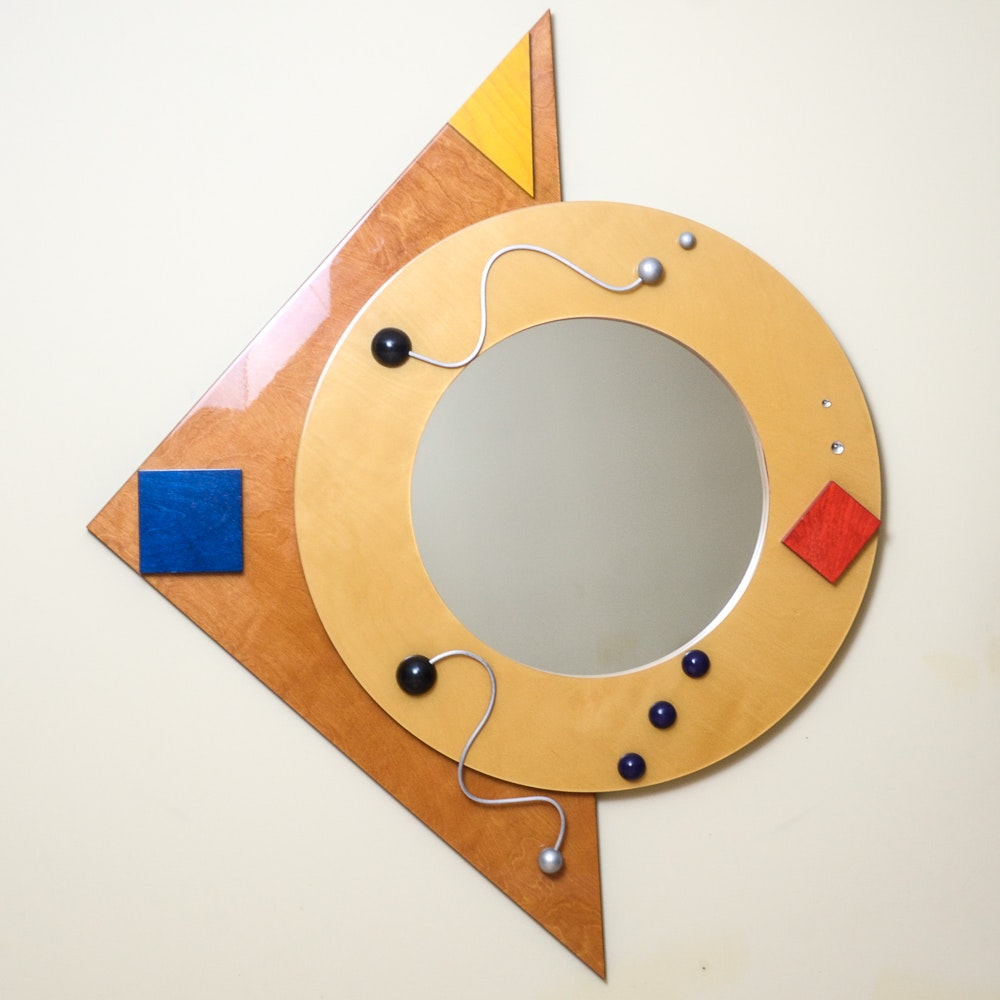 modern wall mirror with wood and metal frame ebth
