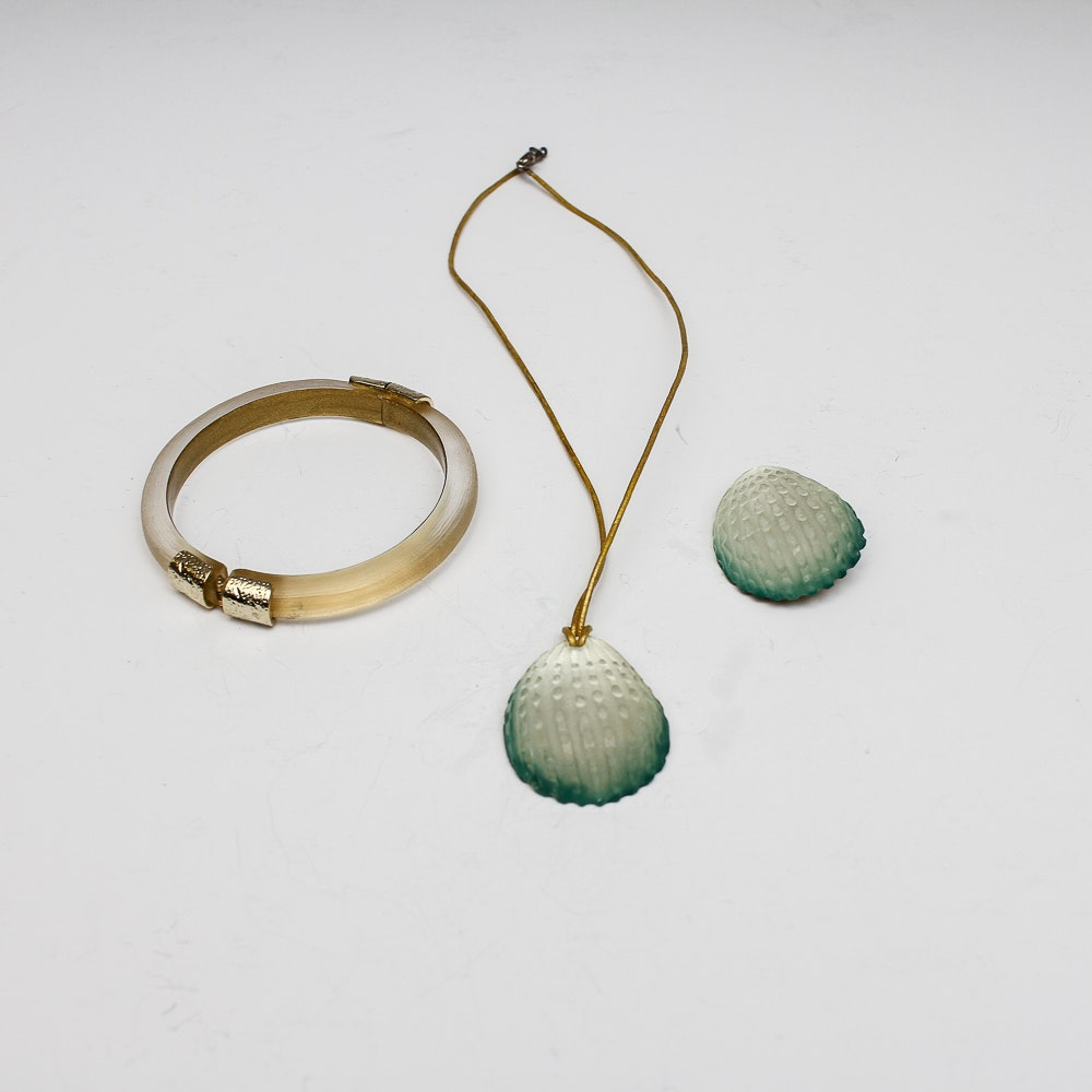 Alexis Bittar Lucite Necklace, Brooch and Bracelet