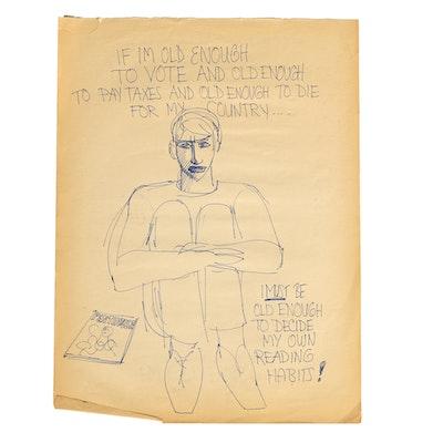 "Original Bob Guccione ""Penthouse"" Advertisement Sketch"