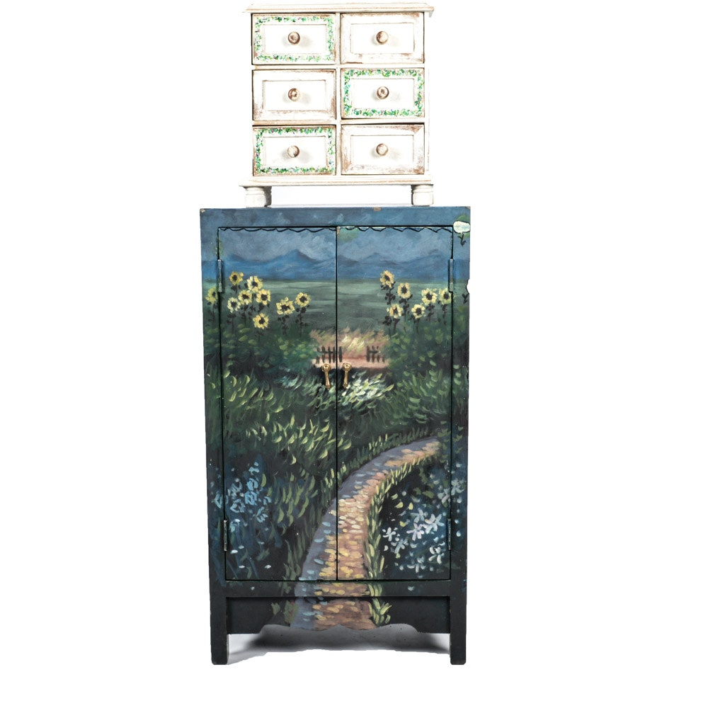 Diminutive Painted Cupboard and Chest