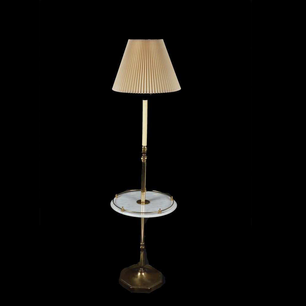 Brass Floor Lamp With Marble Table ...