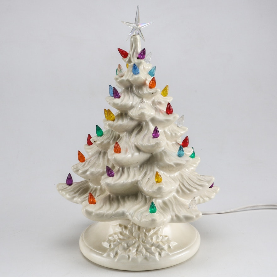Vintage Lighted Ceramic Christmas Tree And Music Box