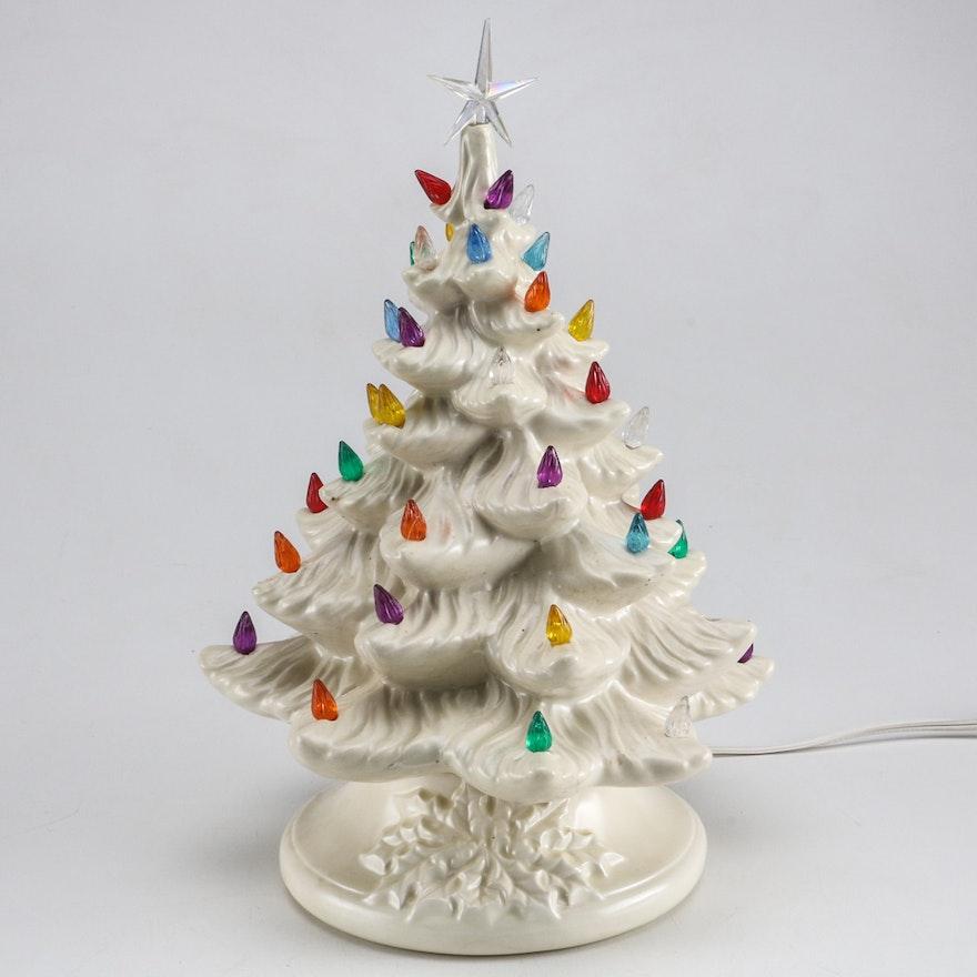 Vintage White Ceramic Christmas Tree.Vintage Lighted Ceramic Christmas Tree And Music Box