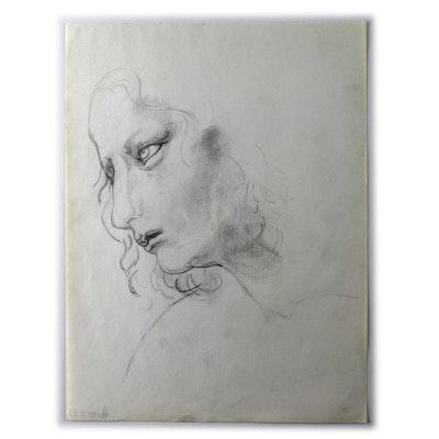 "Original Bob Guccione Realist Sketch ""Into the Distance"""