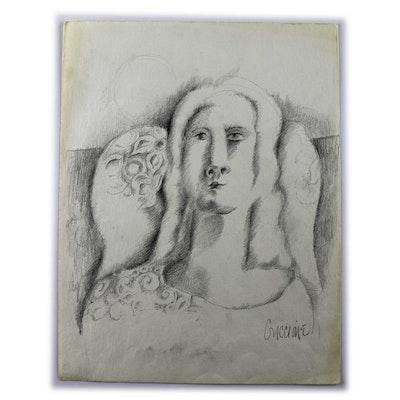 Original Bob Guccione Surrealist Sketch