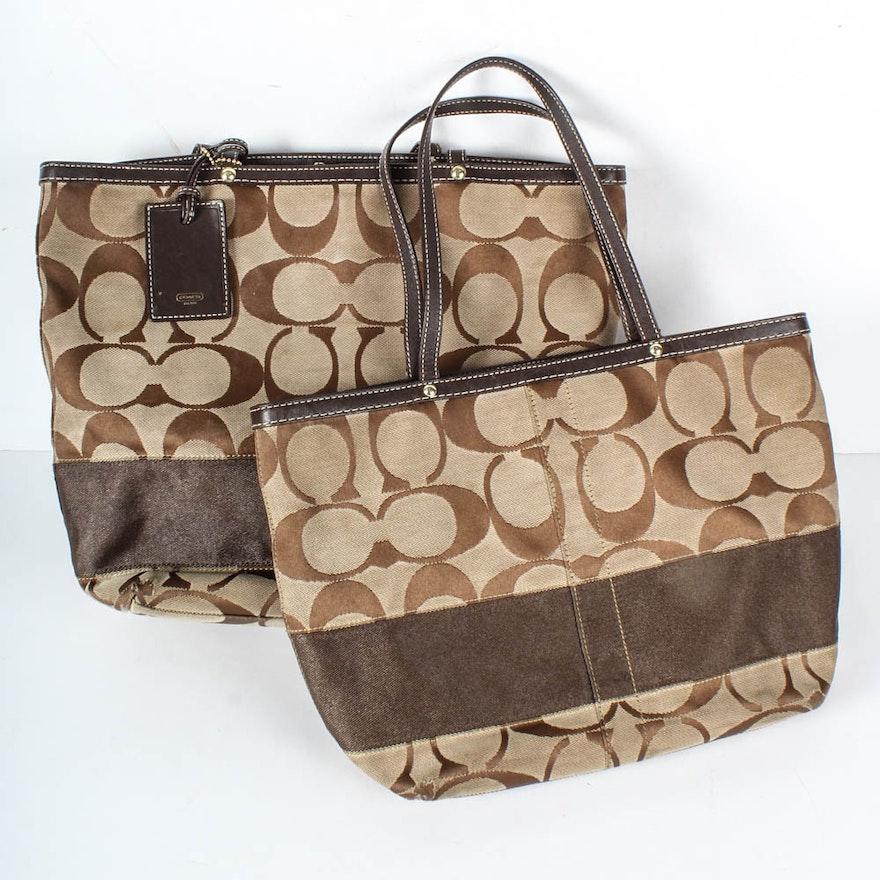 a9478567cf9b Coach Signature Stripe Tote Bags   EBTH