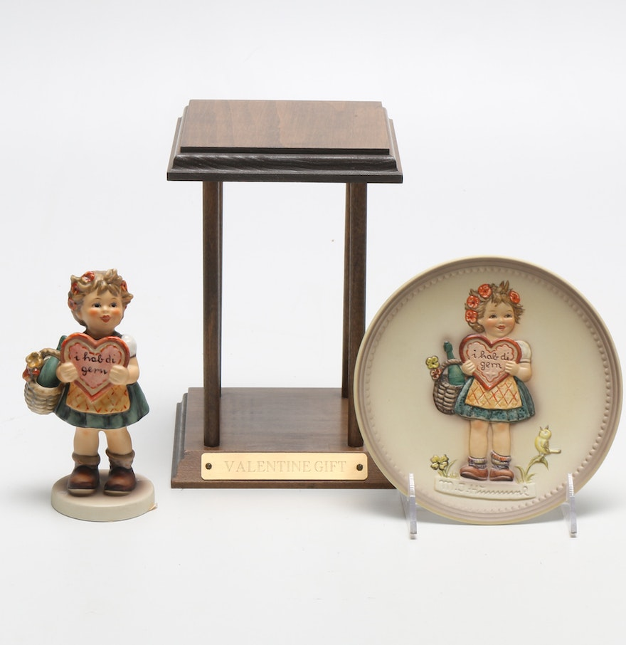 Decorative Display Cases Special Edition Hummel Figurine And Decorative Plate With Wooden