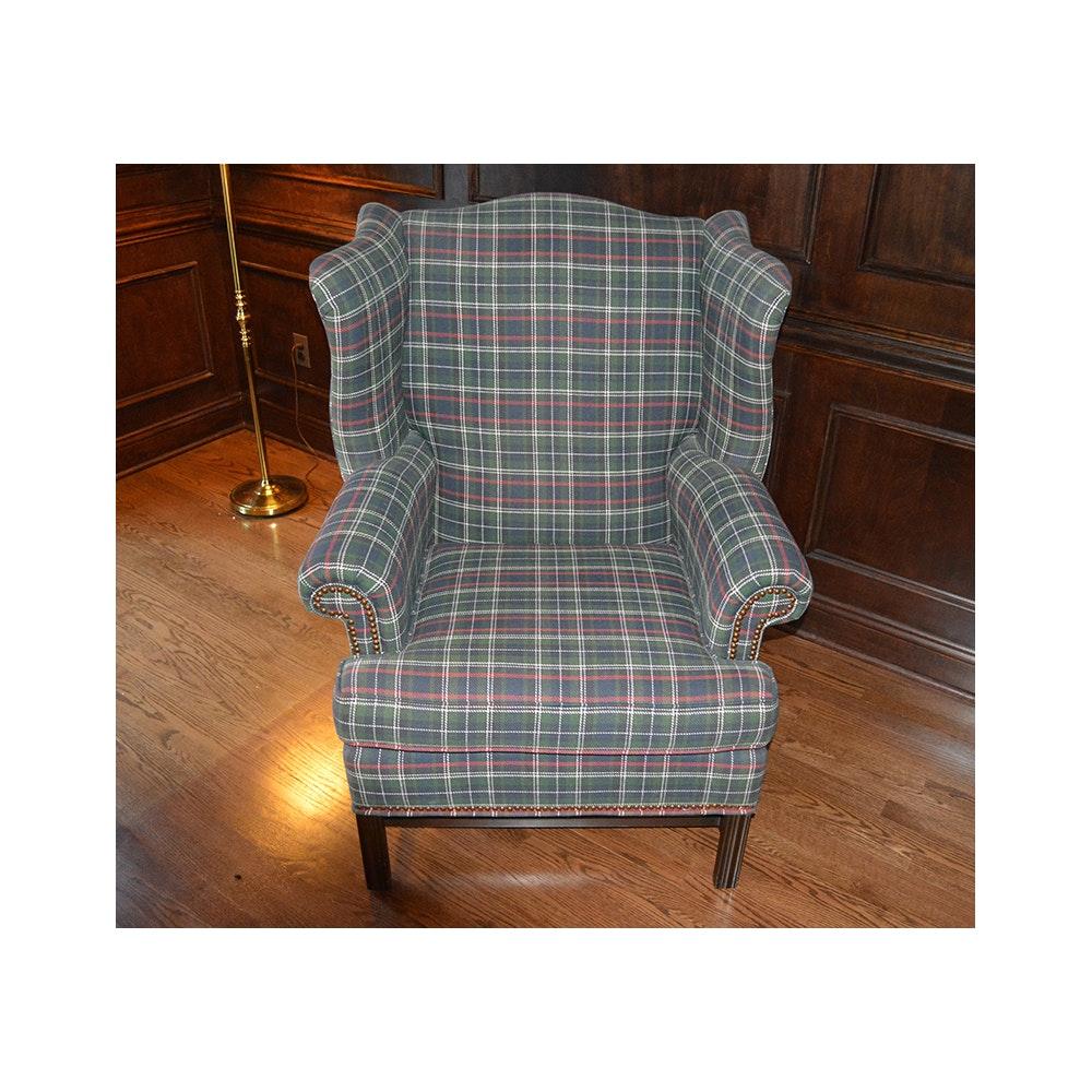Ethan Allen Plaid Wingback Chair ...  sc 1 st  EBTH.com & Ethan Allen Plaid Wingback Chair : EBTH