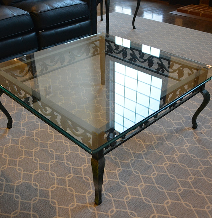Beveled glass and metal coffee table with grape and vine for Table and vine