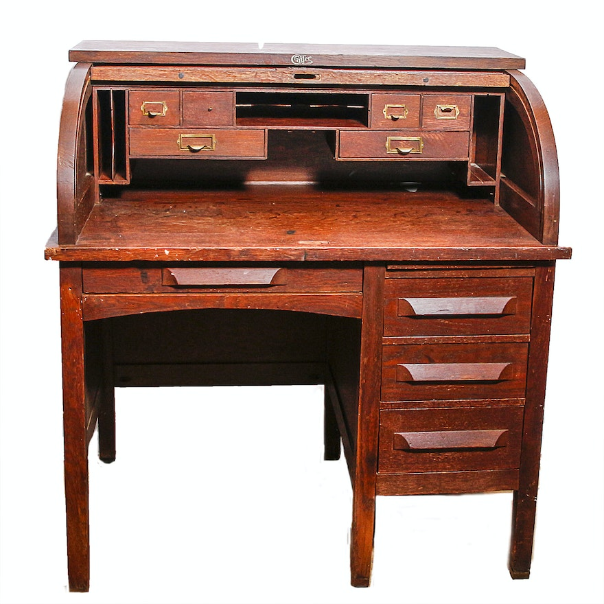 Antique Cutler Desk Co. Roll Top Desk ... - Antique Cutler Desk Co. Roll Top Desk : EBTH