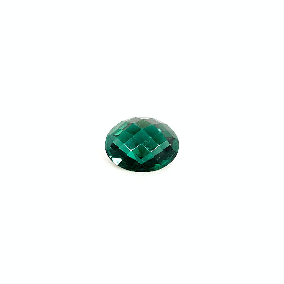 Checkerboard Cut Green Synthetic Quartz Gemstone