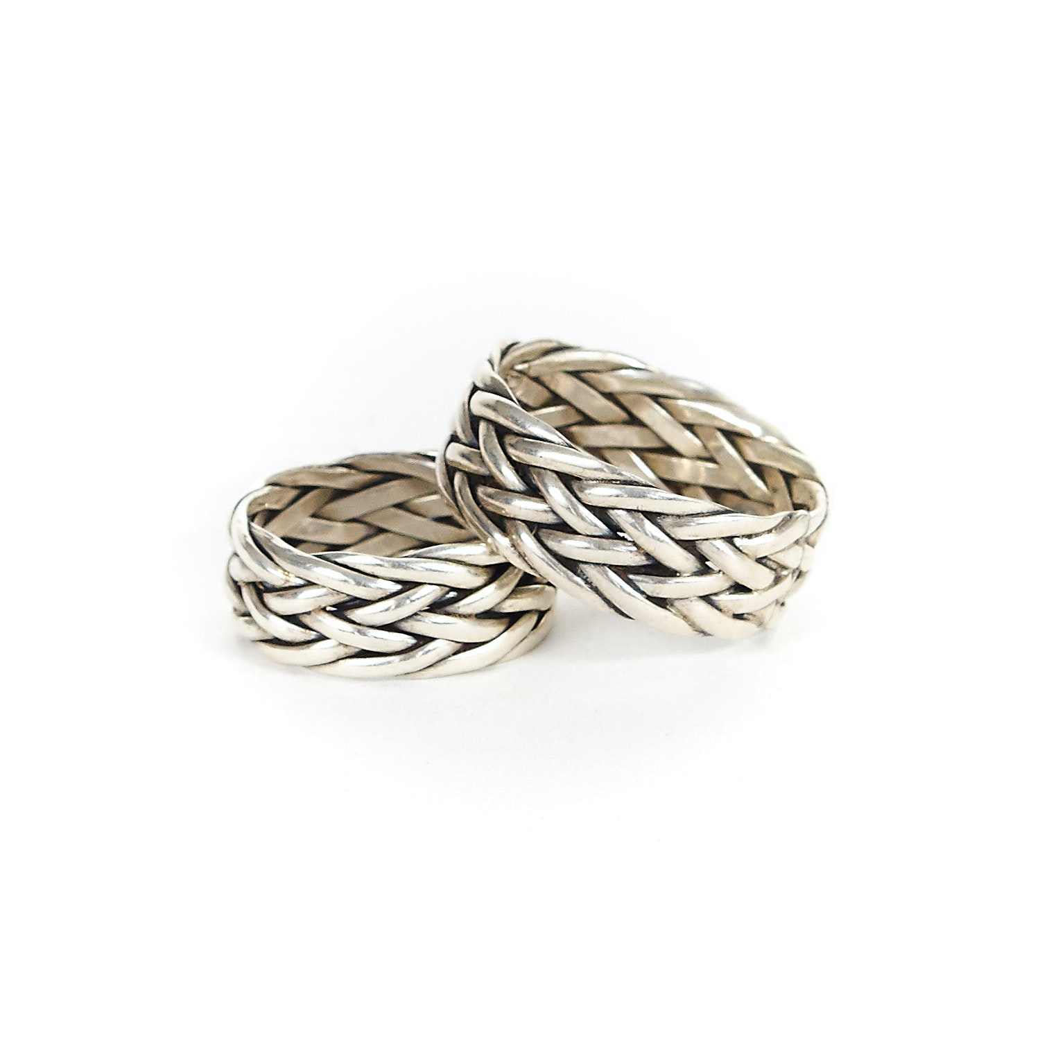 Pair of Sterling Silver Woven Bands