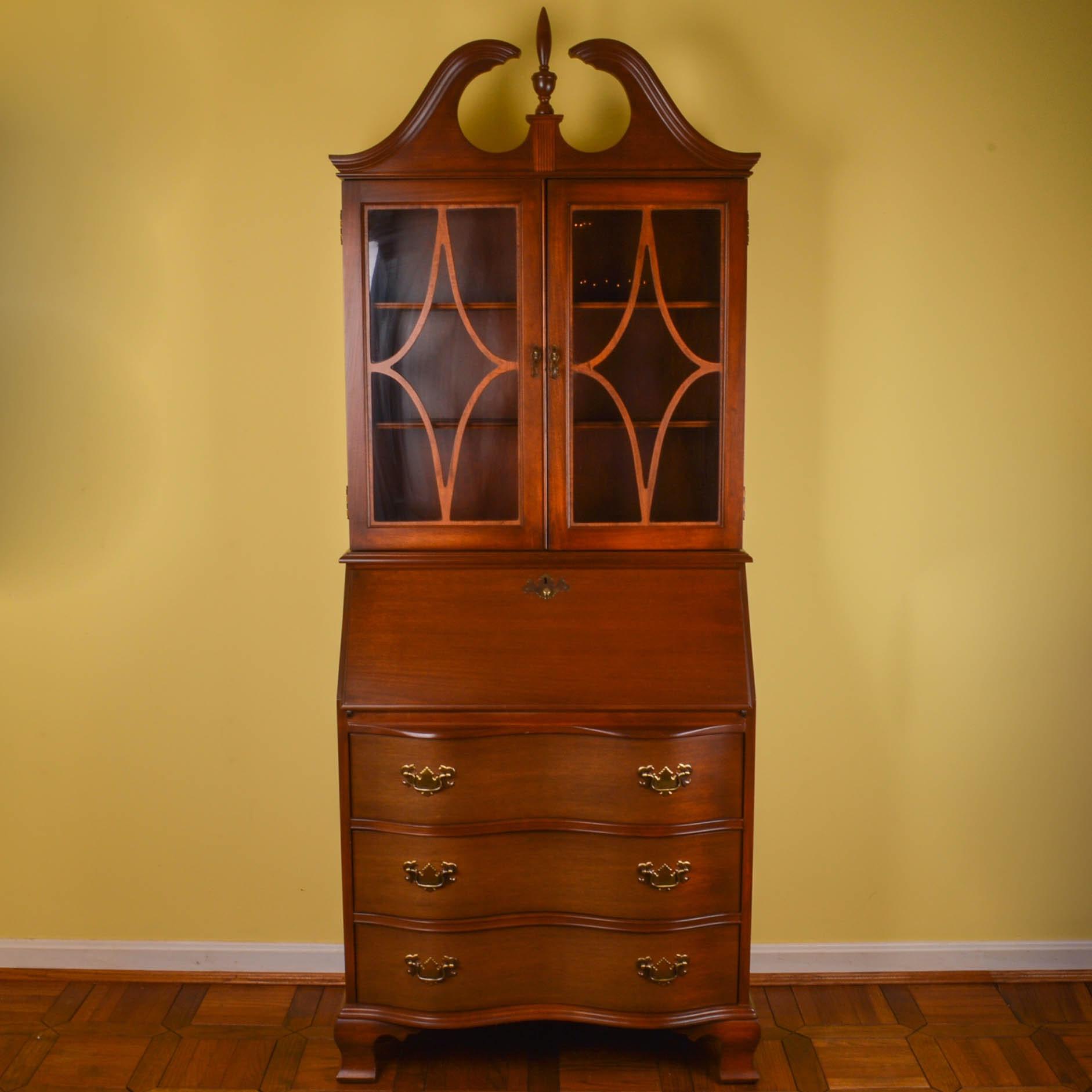 Chippendale Style Mahogany Serpentine Secretary Bookcase