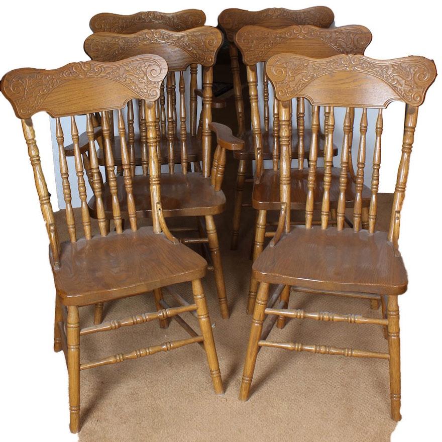 Six Amish Classics Oak Press Back Dining Chairs ... - Six Amish Classics Oak Press Back Dining Chairs : EBTH