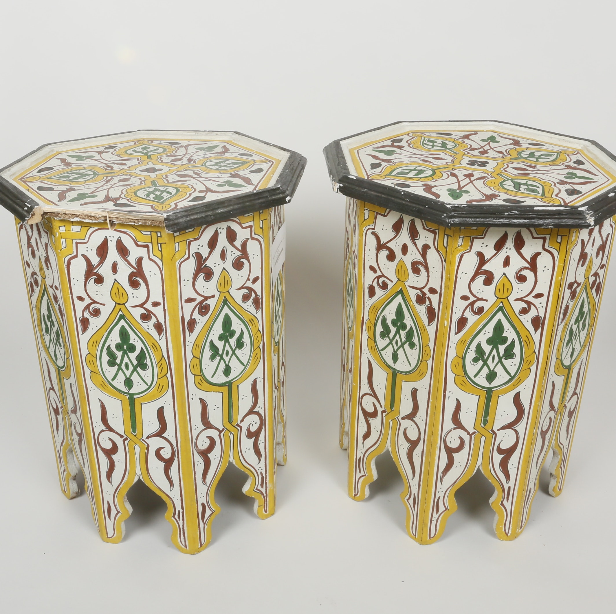 Pair Of Moroccan Hand Painted Tables ...
