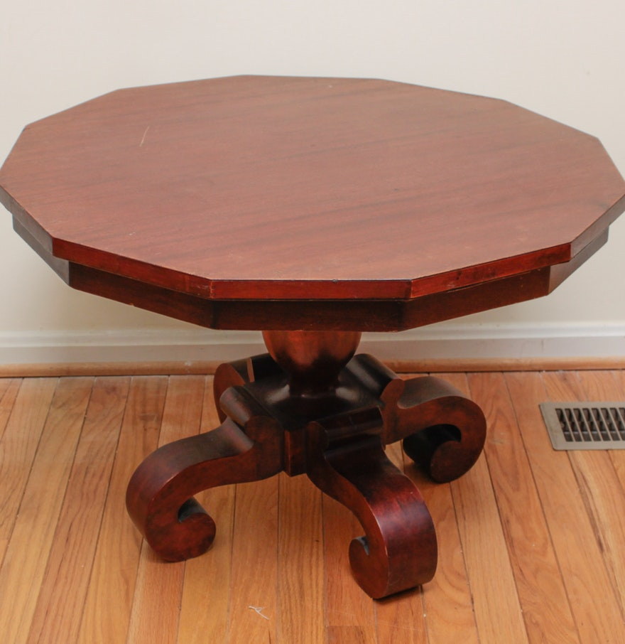 Wooden Dodecagon Pedestal Coffee Table Ebth