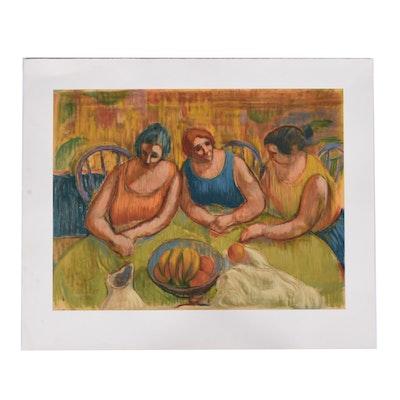 """Bob Guccione Lithograph """"Three Women At A Round Table"""""""