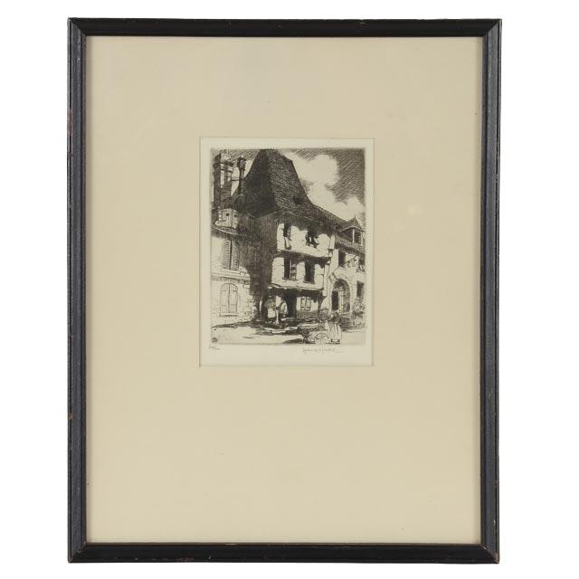 John Pratt Signed Drypoint Etching of Dutch Street Scene