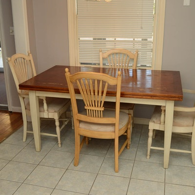 Cherry Wood Dining Table And Chairs EBTH