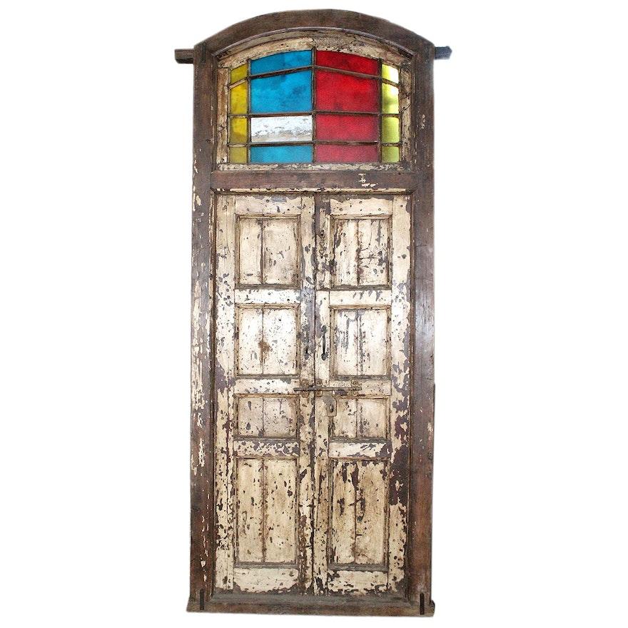 Antique Door Frame and Door with Transom ... - Antique Door Frame And Door With Transom : EBTH
