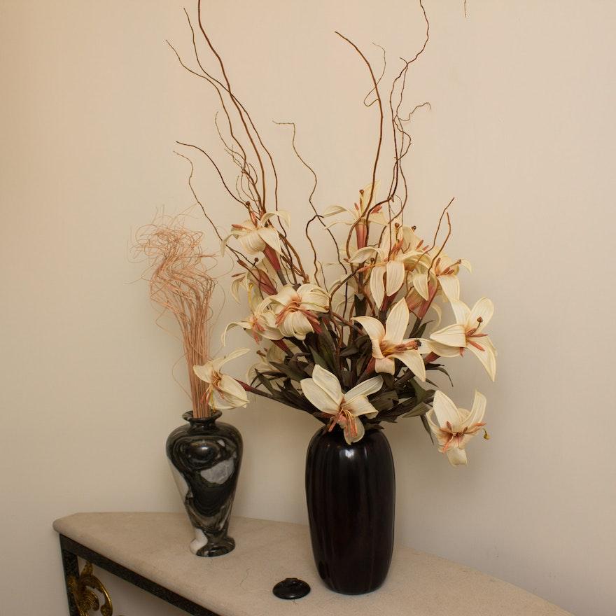 Two Decorative Vases With Artificial Floral Arrangements Ebth