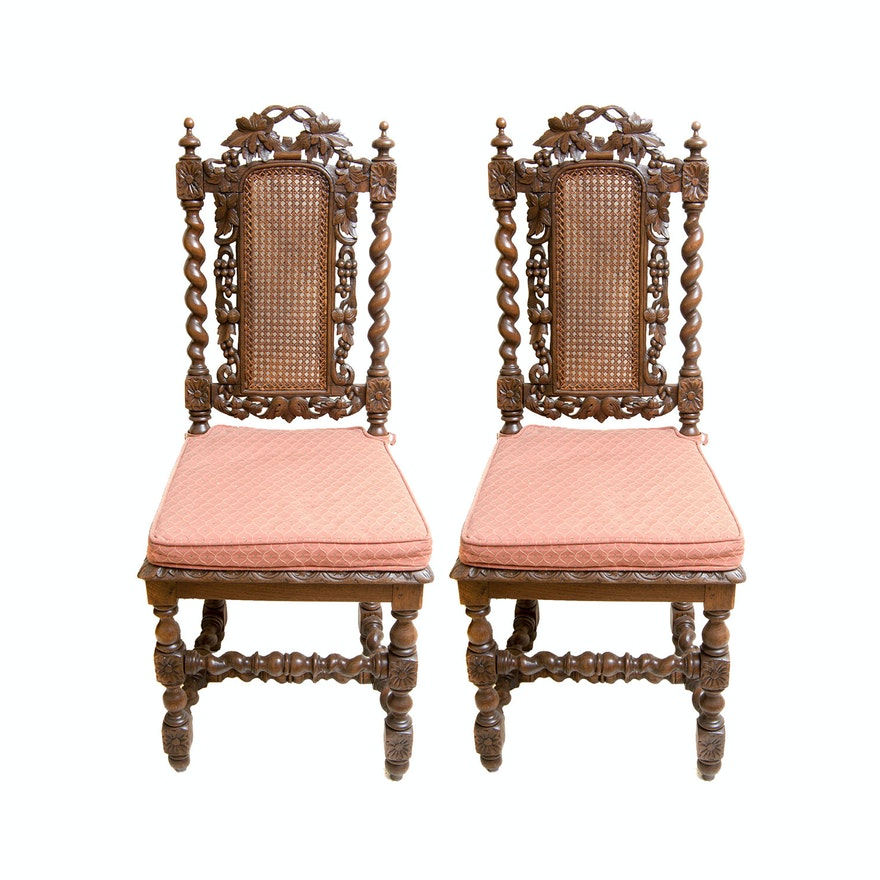 Two Antique Jacobean Style Chairs with Cane Backs ... - Two Antique Jacobean Style Chairs With Cane Backs : EBTH