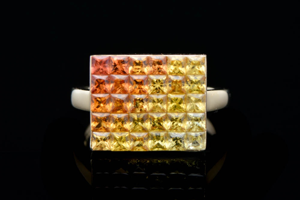 3.12 CTW Multi-Colored Sapphire and 14K Yellow Gold Ring