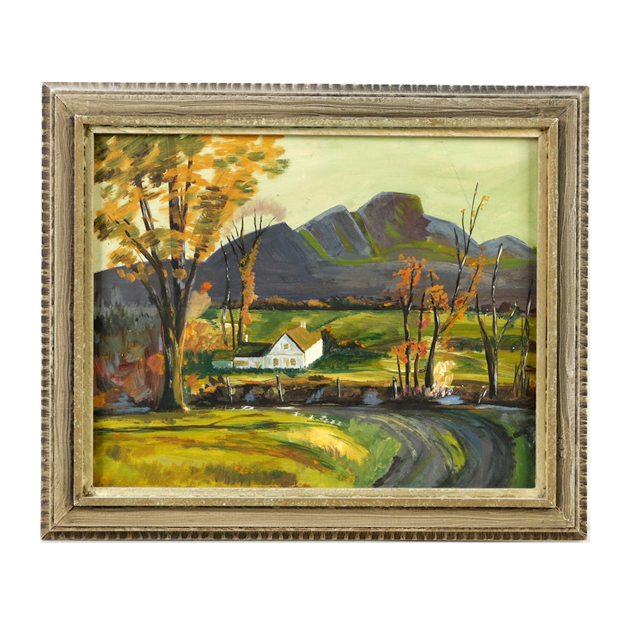 Oil painting on canvas board landscape ebth for What is canvas board