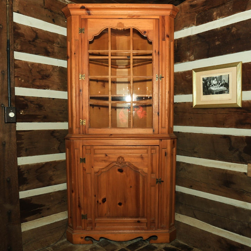 Knoty Pine Kitchen Cabinets: Knotty Pine Federal Style Corner Cabinet