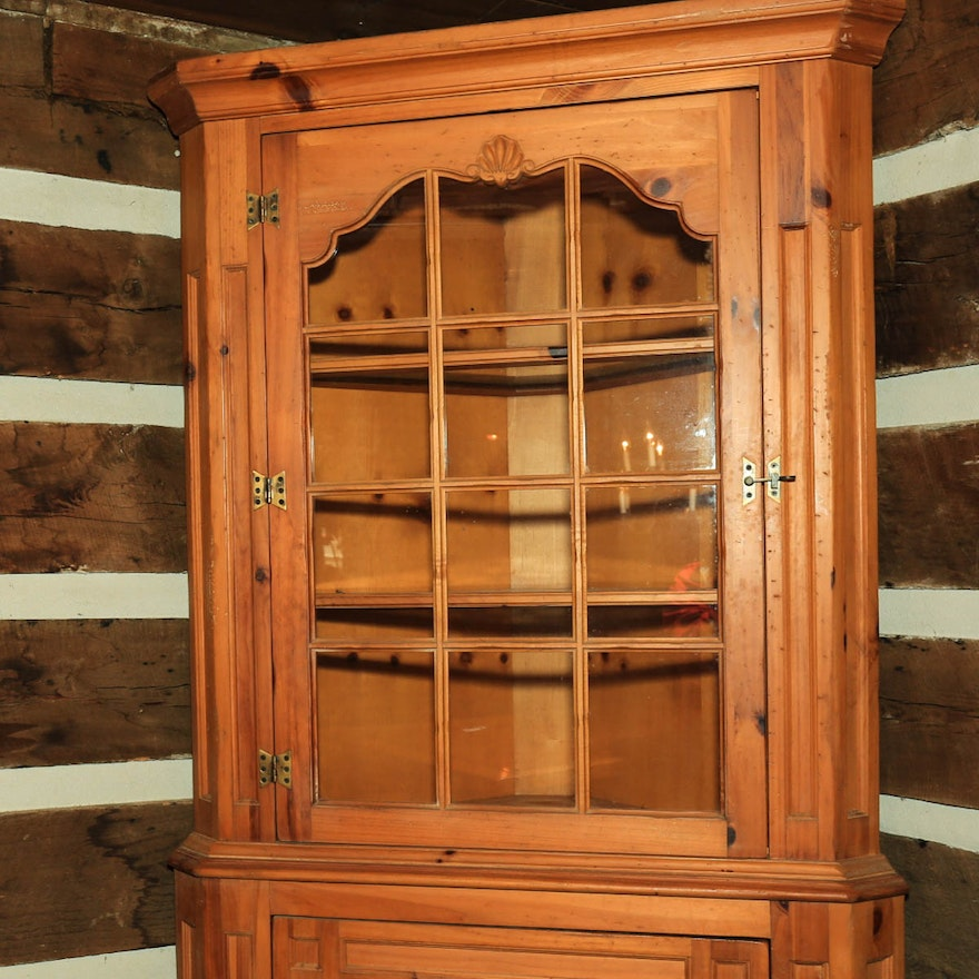 Knotty Pine Cabinets: Knotty Pine Federal Style Corner Cabinet