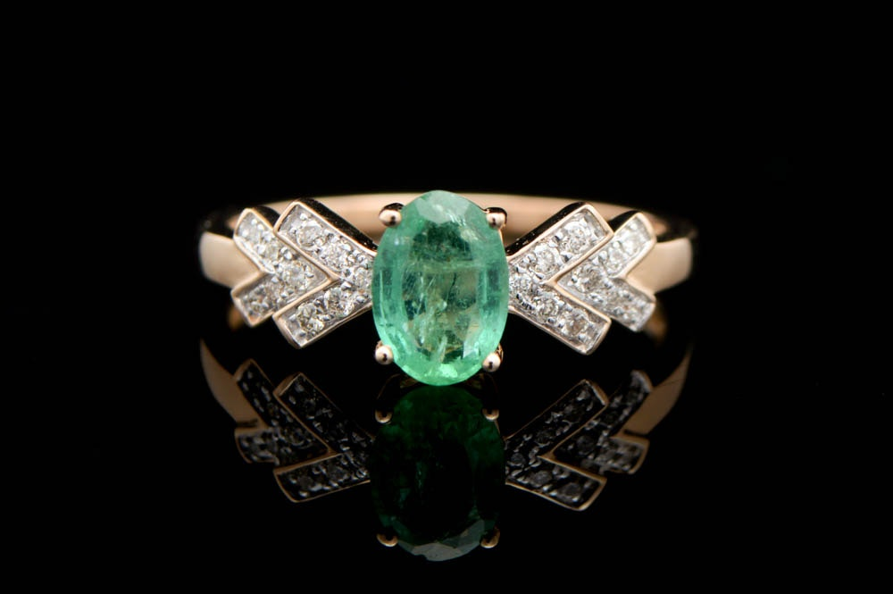 0.85 CT Emerald, Diamond and 14K Rose Gold Ring
