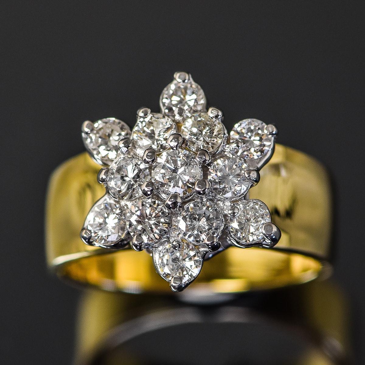 14K Yellow and White Gold 1.02 CTW Diamond Flower Ring