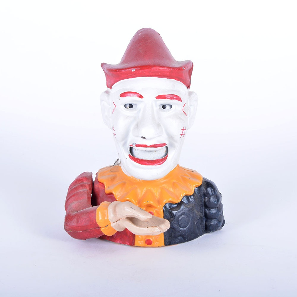 Vintage Cast Iron Jester Coin Bank