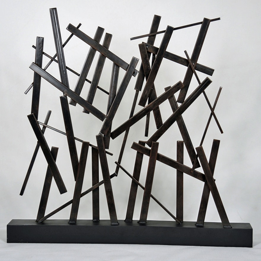 Abstract Geometric Metal Sculpture