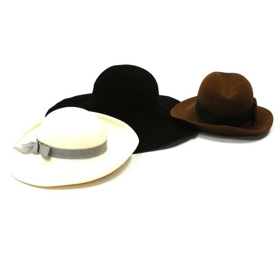 039f0454db5 Vintage Wide Brim Felt Hats Including Mr. John and Adolfo   EBTH