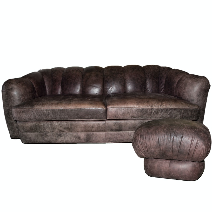 Yorkshire Leather Sofa And Footstool