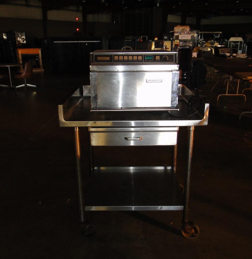 Hobart Microwave On Stainless Steel Cart