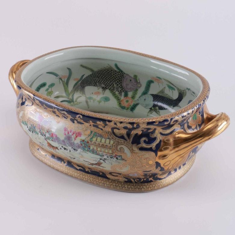 Brass samovar with koi fish motif ebth for Koi fish bowl