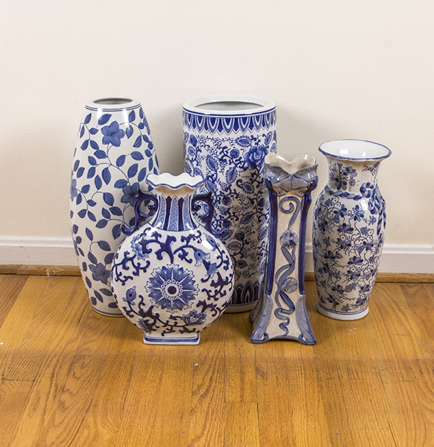 Large chinese blue and white ceramic decor ebth for Decorating with blue and white pottery