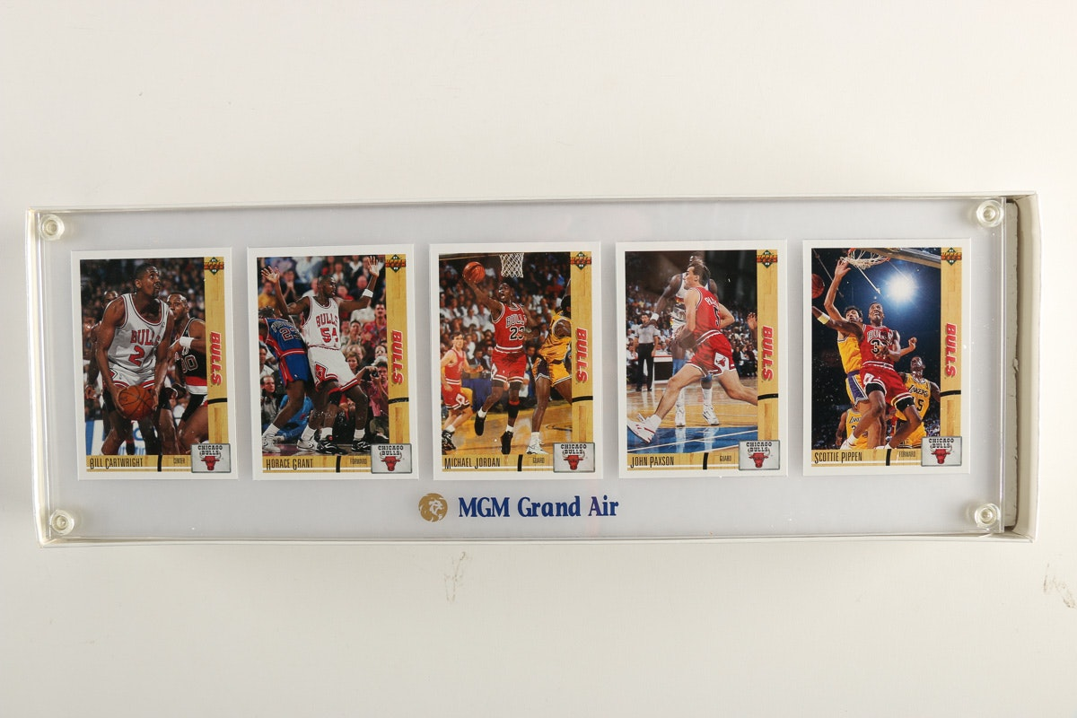 Framed and Mounted '91 Chicago Bulls Upper Deck Player Cards