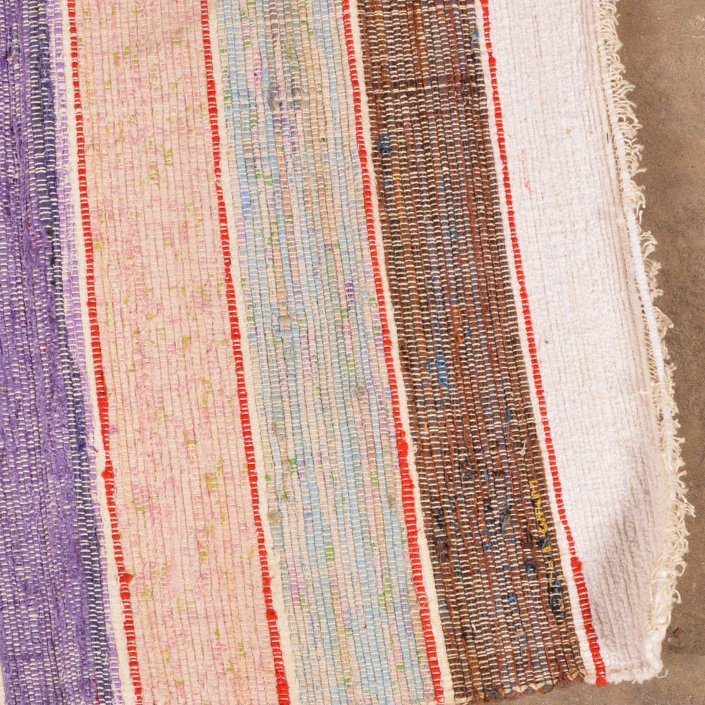 Extra Long Mixed Color European Flat Weave Runner Ebth