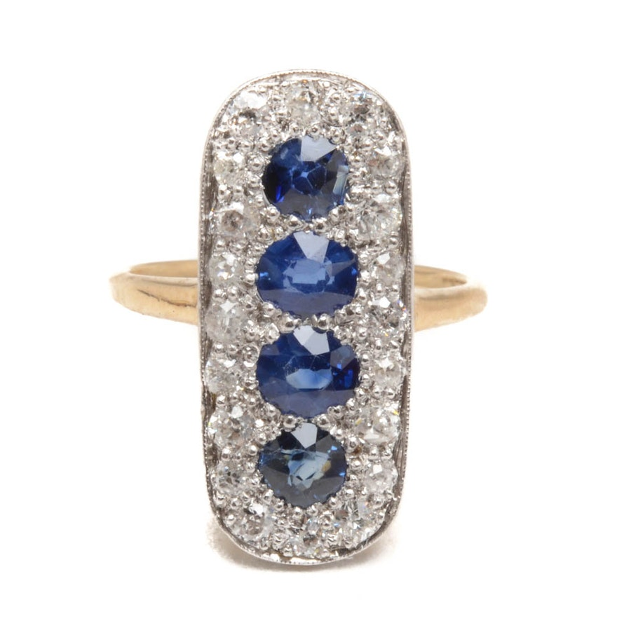Early 20th century 14k white and yellow gold blue sapphire for Best place to sell gold jewelry in chicago