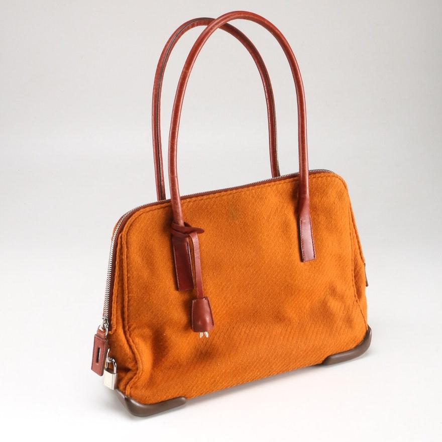 e1bf7851 Prada Wool and Leather Handbag