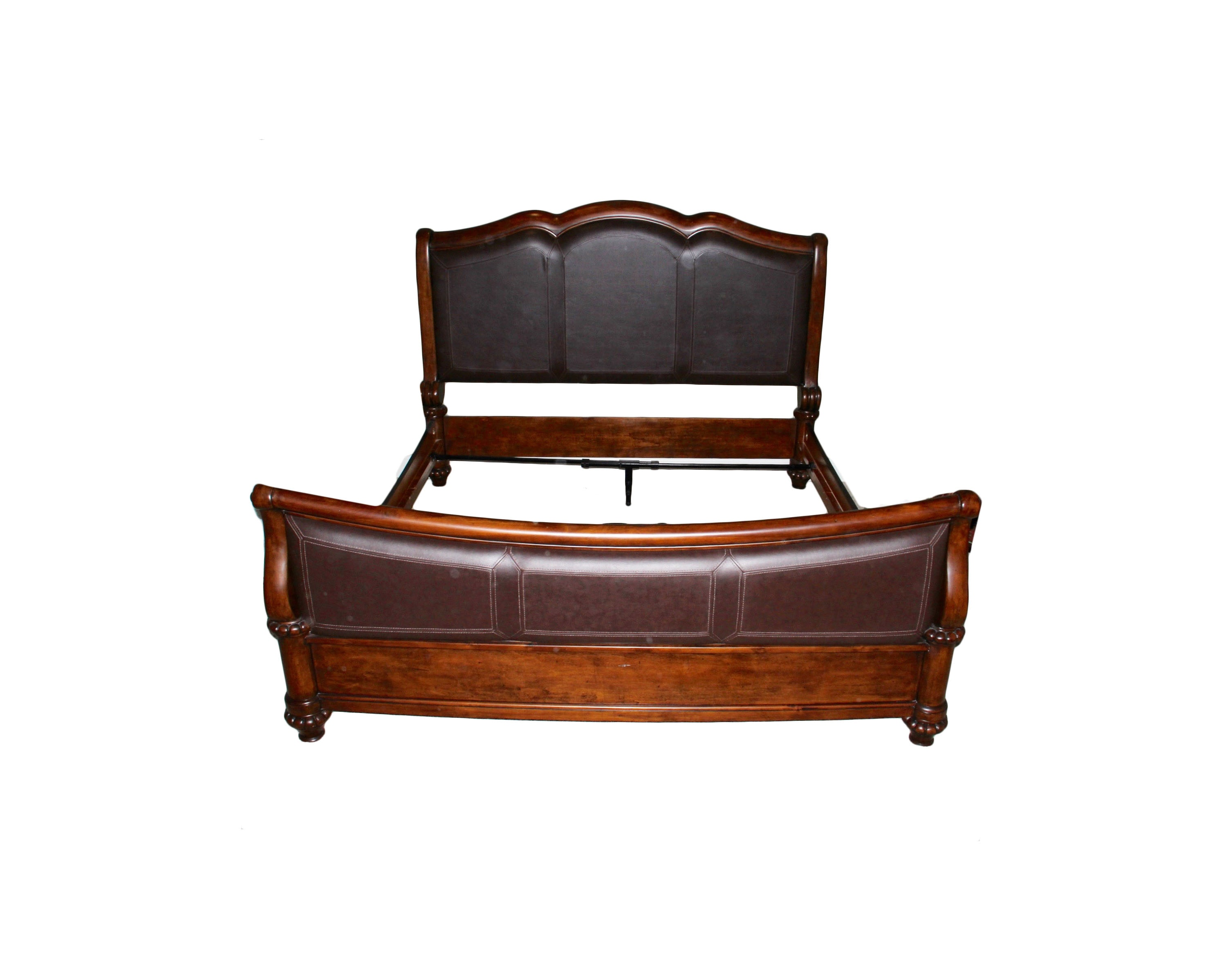 Mahogany and Leather King Size Bed Frame
