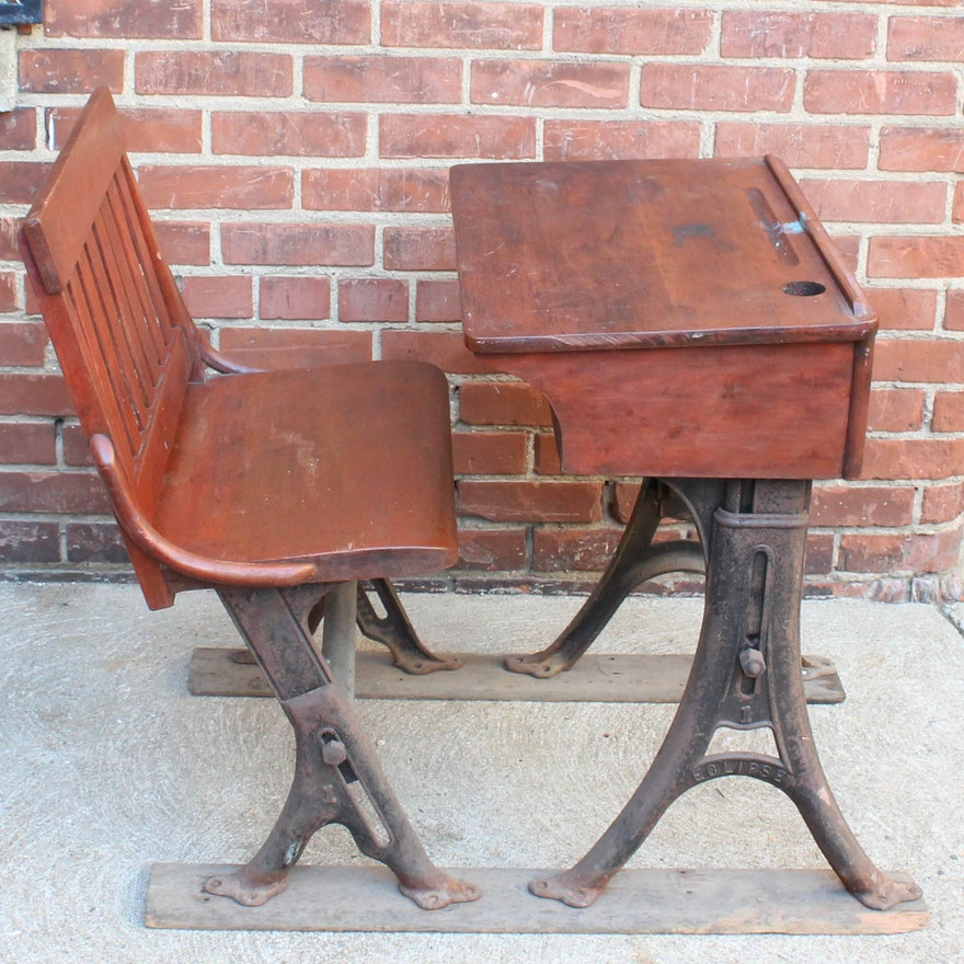 Eclipse Antique Cherry and Cast Iron School Desk By The Theodor Kundtz  Company ... - Eclipse Antique Cherry And Cast Iron School Desk By The Theodor