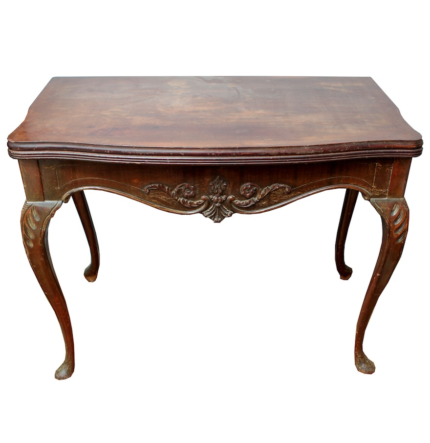 antique mahogany extendable flip top dining table ebth. Black Bedroom Furniture Sets. Home Design Ideas